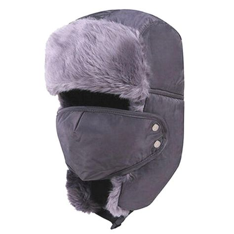 Unisex Windproof Bomber Hat Detachable Mask Earflap LeiFeng Cap Navy One Size