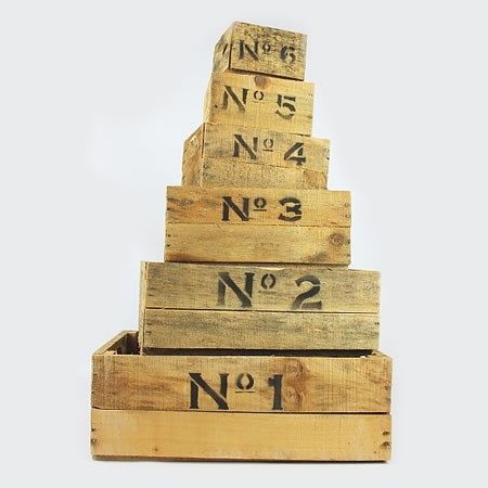 P A Set Of 6 Numbered Rustic Wooden Crates Sold In Sets Of 6 P Wooden Crates Crates Flowers Direct