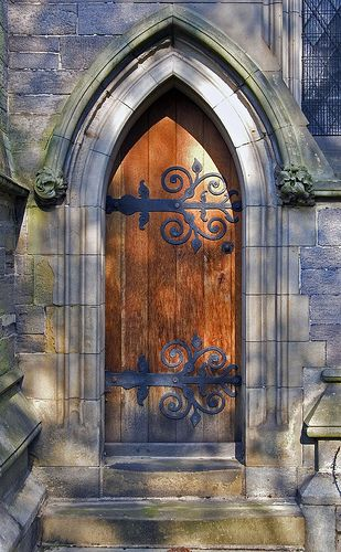 Old door with wonderful decorative strapping