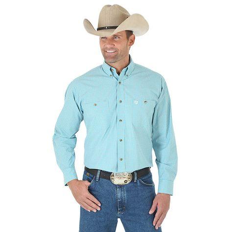 Wrangler Mens George Strait Two Pocket Long Sleeve Button Shirt
