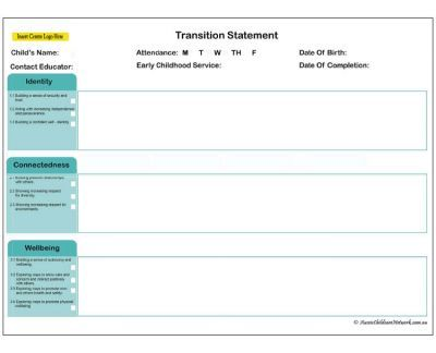 Transition Statement Qld With Images Preschool Transitions