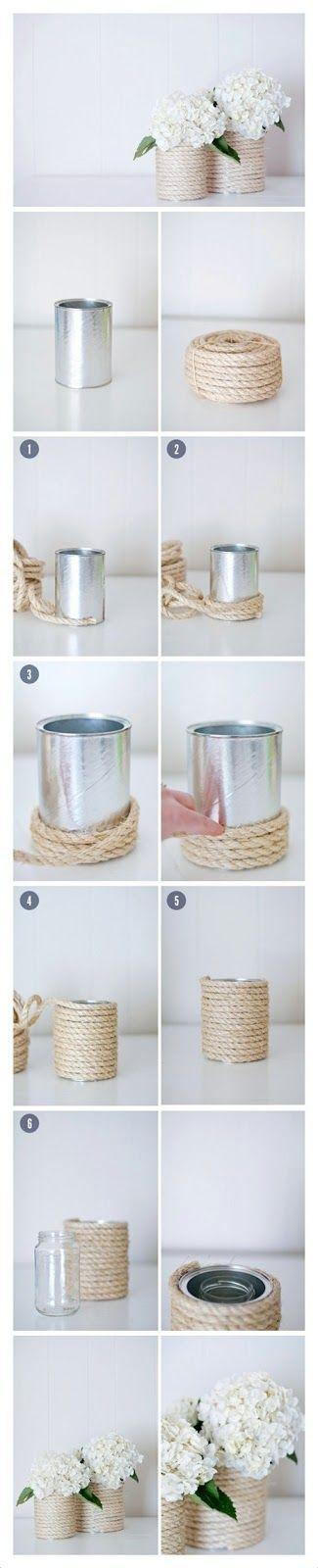 Floreros de cuerda con latas recicladas