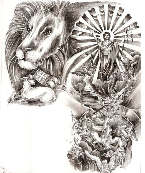 Lion and lamb jesus cross angels devil satan battle fight tattoo. black and grey arm half sleeve chest. by Jasmine Mills