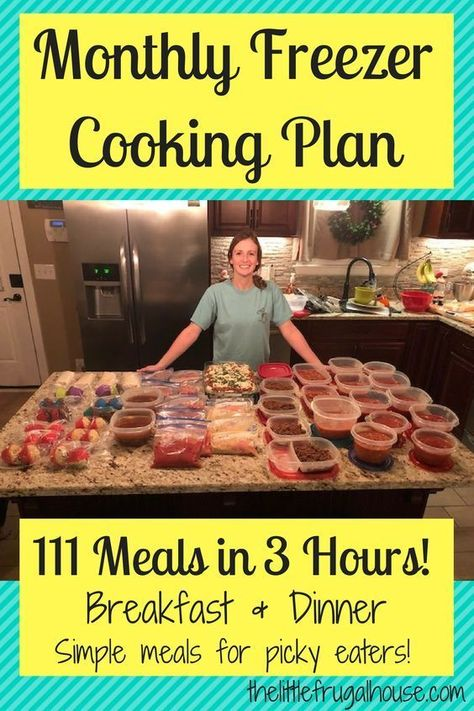 Monthly Freezer Cooking Plan Make 111 Meals in 3 Hours is part of Freezer dinners I& not cooking for 2 months because I just made 111 meals in 3 hours! This monthly freezer cooking plan has a free - Budget Freezer Meals, Slow Cooker Freezer Meals, Make Ahead Freezer Meals, Frugal Meals, Freezer Recipes, Budget Recipes, Chicken Freezer Meals, Easy Meals, Healthy Crockpot Freezer Meals