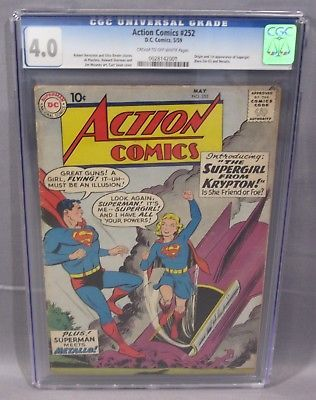Action Comics 252 Supergirl Metallo 1st App Cgc 4 0 Vg Dc Comics 1959 Cbcs Supergirl Comics White Pages