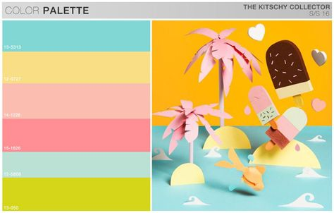 s/s girls trend theme, the kitschy collector, color board