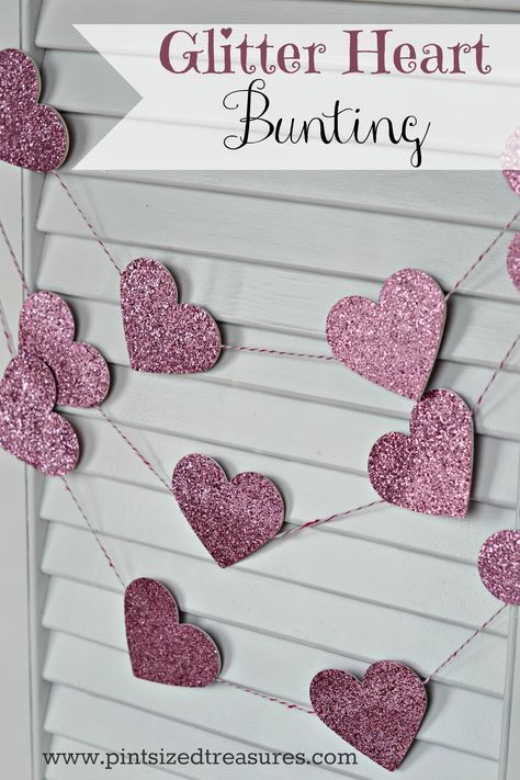 EASY GLITTER HEART BUNTING A fun, hands-on craft that will also make awesome Valentine's Day decor!
