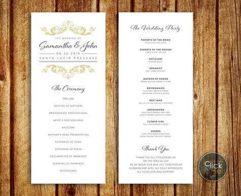 Classic Wedding Program with gold/grey colors. Design can be customize to match your Wedding theme - please contact about this options.  ••••• Only