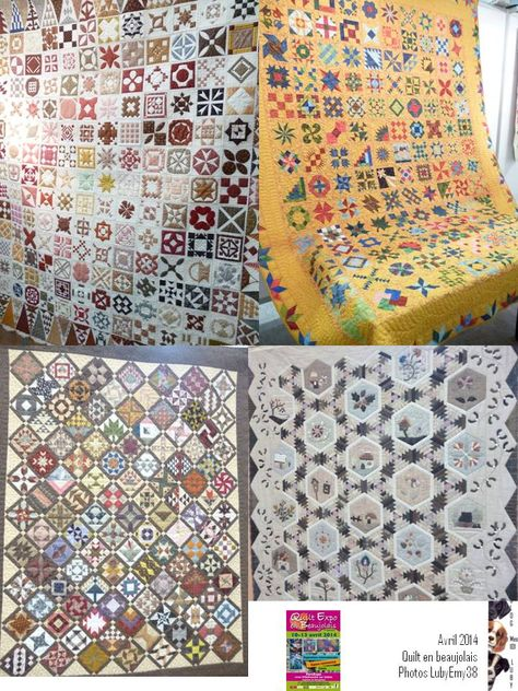 Dear Jane, Farmer's Wife and Sylvia's Bridal Sampler quilts at Quilt en Beaujolais 2014.  Photo by mes101luby