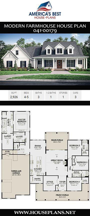 House Plan 041 00179 Modern Farmhouse Plan 2 926 Square Feet 4 5 Bedrooms 3 5 Bathrooms Farmhouse Floor Plans New House Plans House Plans Farmhouse