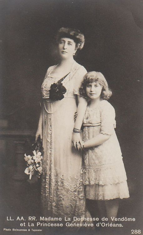 The Duchess of Vendome with Princess Genevieve of Orleans.