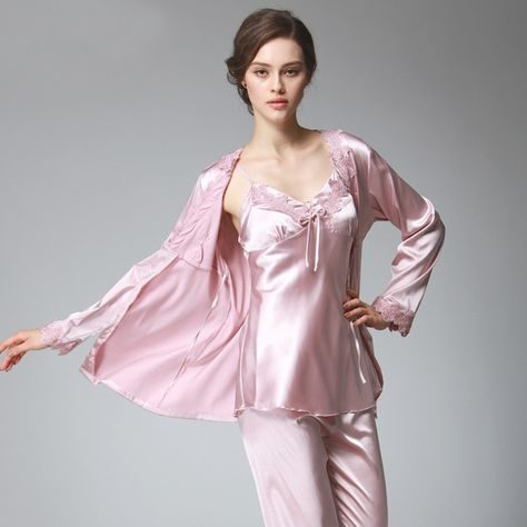 9d06b20a6f PS036 Ladies Satin Silk Pyjamas Female Sexy Lace V-neck 3 Pieces Pajama Set  Plus Size Full Sleeve Spaghetti Strap Pant Nightwear Review