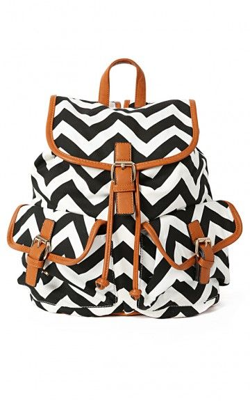 Black and White Chevron Backpack