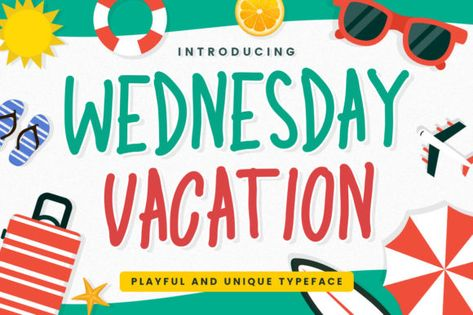 Wednesday Vacation (Font) by Kotak Kuning Studio · Creative Fabrica
