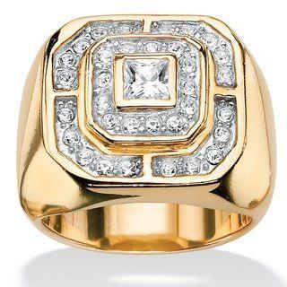 14Kt Gold Zirconia /& Diamond Design Round Ring