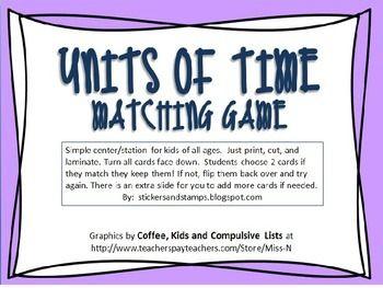 Units of Time Matching Game Freebie