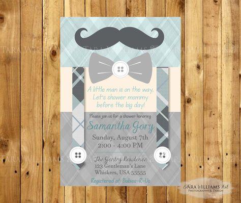 Mustache Baby Shower Invitation -Bowtie-Little Gentleman-Chevron-Boy-Printable-Custom-You Print-Shower Invitation by TaraWilliamsArt on Etsy