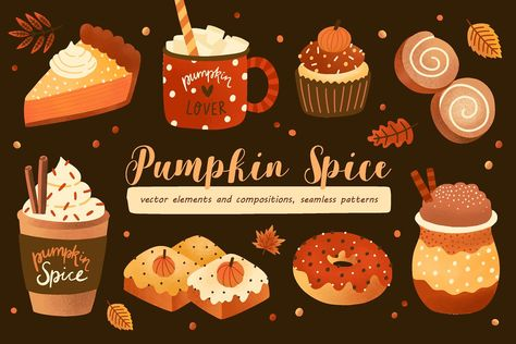 Cozy colorful collection, cards and seamless patterns with pumpkin spice coffee and sweets. Pumpkin spice latte, mocha or frappe in lovely cups and donut, Pumpkin Spice Coffee, Spiced Coffee, Pumpkin Spice Cupcakes, Snowman Cupcakes, Giant Cupcakes, Ladybug Cupcakes, Kitty Cupcakes, Cupcake In A Cup, Rose Cupcake