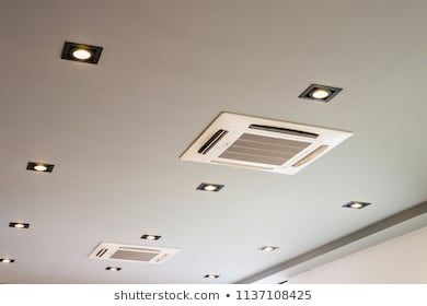 Ceiling Mounted Cassette Ac Ceiling Design Ceiling Design House Design Ceiling Air Conditioner
