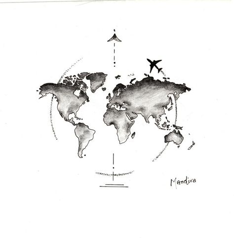 Globe world map with plane tattoo design by Mandira - #design #Globe #Mandira #Map #plane #tattoo #world