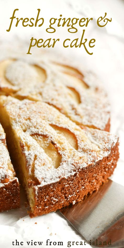 Fresh Ginger and Pear Cake ~ this buttery breakfast cake is lightly spiced with fresh ginger and cardamom, and topped with fresh juicy pears. Desserts Fresh Ginger and Pear Cake Pear Dessert Recipes, French Desserts, Fresh Pear Recipes, Desserts With Pears, Recipes With Pears, Pear Recipes Healthy, Vitamix Recipes, Blender Recipes, Healthy Cake