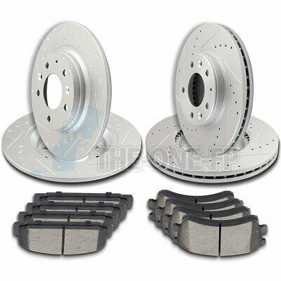 Ceramic Brake Pads For 2003-2005 Mazda 6 Front Rear Rear Slotted Brake Rotors