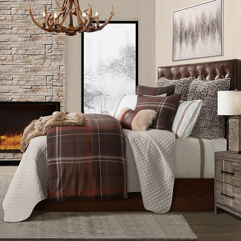 Rustic Comforter Sets, Plaid Comforter, Full Comforter Sets, King Comforter, Brown Comforter, Duvet, Bedroom Comforter Sets, Lodge Bedroom, Woodsy Bedroom