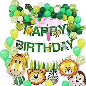 Puselo Dschungel Geburtstag Dekorationen Happy Birthday Girlande