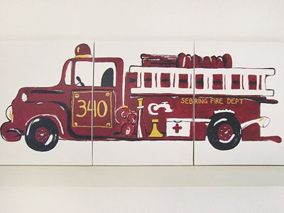 three piece fire truck painting