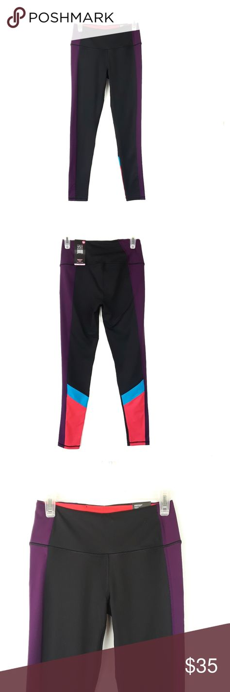 NWT Victoria's Secret Color Blocked Knockout Tight High waisted color blocked 'Knockout Tight' by Victorias secret.  Black with purple, blue, and hot pink details on sides and end of legs.  Has an inner slip pocket.  Full length for petites, ankle length for regular size.  Size S.    Waist: 28