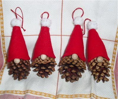 The Free Money-Saving Tips Ezine: Homemade Christmas Ornaments: Pinecone Gnomes – crafts – Weihnachten Kids Crafts, Christmas Crafts For Kids, Simple Christmas, Christmas Projects, Holiday Crafts, Swedish Christmas, Family Crafts, Felt Crafts, Santa Crafts