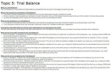 Topic 5 Trial Balance Trial Balance Pinterest Trial balance - balance sheet preparation examples