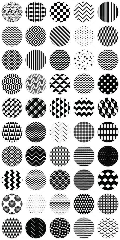 50 Geometric B&W Seamless Patterns by Olka on Creative Market - Backgrounds