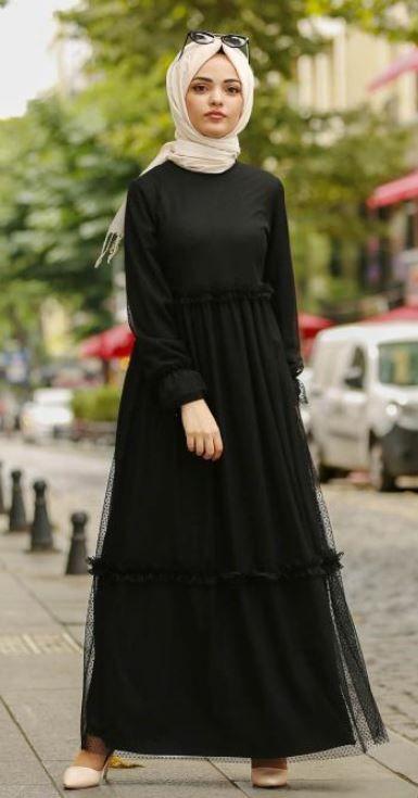 Bej Sal Siyah Tesettur Elbise Tesettur Giyim 2020 Siyah Elbise Elbise Moda Stilleri