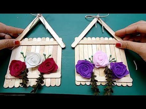 Dekorasi Dinding Dari Stik Es Krim Dengan Bunga Mawar Kain Flanel Youtube Ornamen Natal Ide Kerajinan Tutorial Membuat Perhiasan