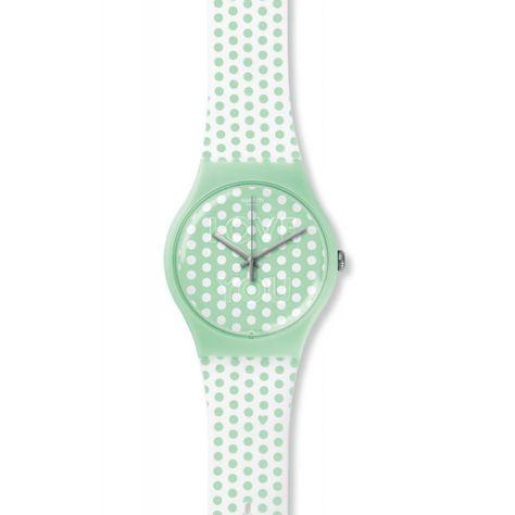 Reloj Swatch mujer Mint love SUOG108. Correa de goma blanca con motivos en color verde menta. Caja que contiene el mecanismo realizada en plástico. Esfera redonda verde con puntos blancos. Diámetro del reloj 41 mm. Sumergible a 3 ATM. Garantía 2 años.