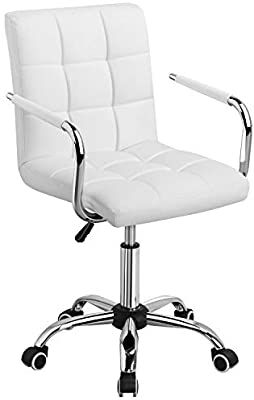 Amazon Com Yaheetech White Desk Chairs With Wheels Armrests Modern Pu Leather Office Chair Midback Adju In 2020 White Desk Chair Desk Chair Comfortable Computer Chair