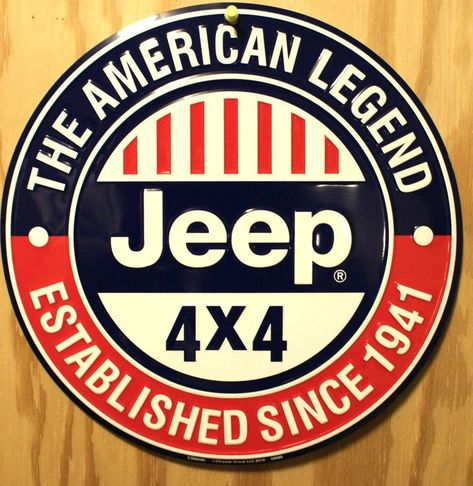 """Wrangler American Legend JEEP Since 1941 Domed Button Tin Metal Sign 24/"""""""