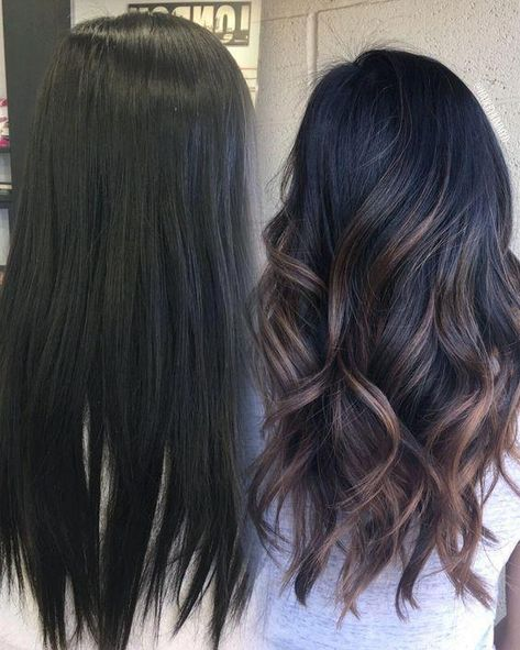 25 Pretty Fall Hair Color For Brunettes Ideas – Fashionable – Balayage Hair Styles Balayage Straight, Brown Hair Balayage, Hair Color Balayage, Balyage On Black Hair, Black Hair With Balayage, Fall Hair Color For Brunettes, Hair Color For Black Hair, Dark Fall Hair Colors, Black Hair With Highlights