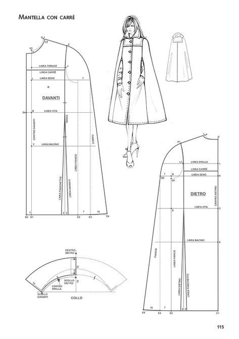 Japanese Sewing Patterns, Dress Sewing Patterns, Sewing Patterns Free, Clothing Patterns, Cloak Pattern, Jacket Pattern, Diy Clothing, Sewing Clothes, Cape Designs