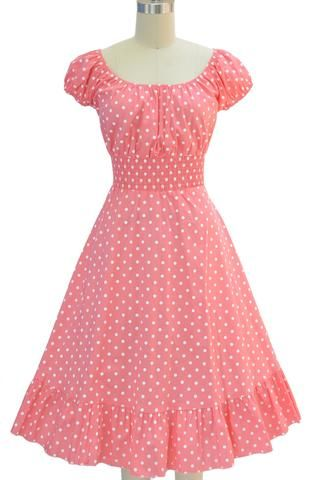 picture perfect peasant sun dress - lt. pink & white polka dot