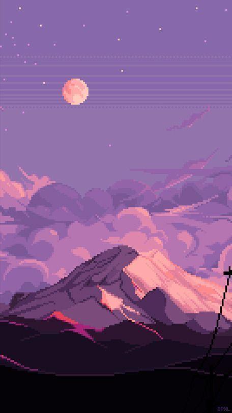 Pink Purple Pixel Landscape Ios 14 Widget Wallpaper Aesthetic Art Background Scenery