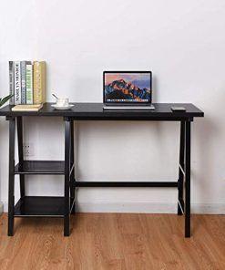 Tangkula Writing Computer Desk Trestle Desk Study Desk Laptop Pc Desk Modern Wood Vintage Style Reversible Storage S Home Office Furniture Trestle Desk Desk