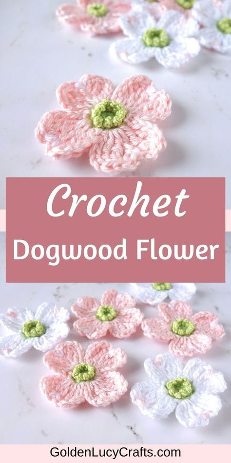 Using this crochet Dogwood flower pattern you can make a beautiful embellishment and you can use it for any Spring decoration! Crochet Flower Tutorial, Crochet Flower Patterns, Crochet Flowers, Free Baby Crochet Patterns, Loom Patterns, Crochet Crafts, Crochet Yarn, Crochet Projects, Crochet Edgings