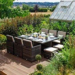 Nova Lyon 6 Seat Deluxe Cube Set With Footstools Brown Garden Furniture Rattan Garden Furniture Garden Dining Set