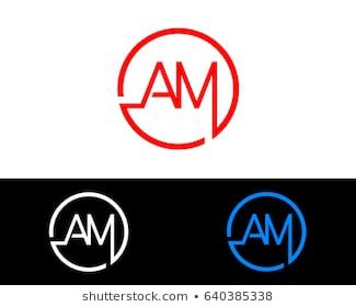 Am Logo Letter Design Vector With Red And Black Gold Silver Colors