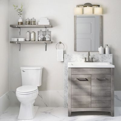 A 30 Inch Gray Vanity Beside A White Toilet In A Bathroom With Light Colored Walls And Fixtur Single Sink Bathroom Vanity Bathroom Vanity Bathroom Sink Vanity