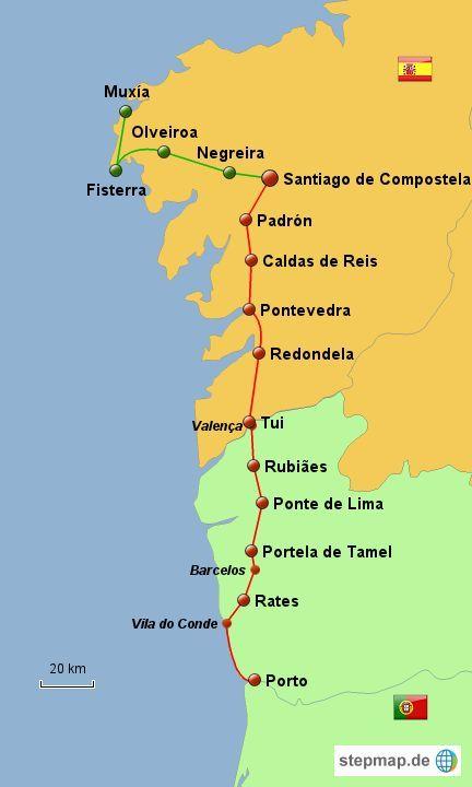 Camino Portugues Karte.Karte Caminho Portugues Der Jakobsweg In Portugal