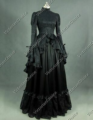 Black Victorian Gothic Dress Penny Dreadful Dark Gown Theater Steampunk Punk 324