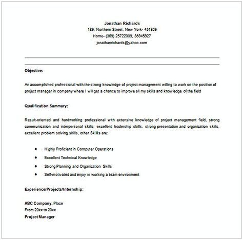 Entry Level Entry Level Project Manager Resume In Ms Word  Entry
